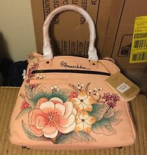 Anuschka Hand-Painted Leather Zip Top Double Handled OTS Purse NEW