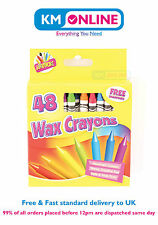 48 Wax Crayons with Free Sharpener Assorted Colours for Art/Gift/Kids/School Fun
