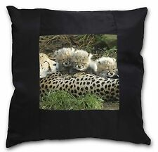 Cheetah and Newborn Babies Black Border Satin Scatter Cushion Christm, AT-39-CSB