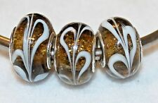 3x WHITE FEATHER BROWN STERLING SILVER MURANO GLASS BEADS LOT D16 FIT EURO CHARM