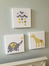 SET OF 3 HANDMADE GREY YELLOW ELEPHANT GIRAFFE CLOUD CANVASES baby nursery boy