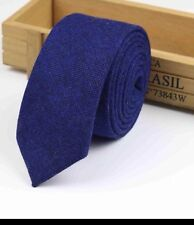 New Vintage Skinny Blue Tweed Wool Tie. Excellent Quality & Reviews. Uk