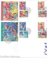 UNITED NATIONS 1996 SPORTS BY LEROY NEIMAN  SET & S/S TRIPLE CANCEL FDC'S