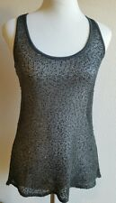 Anthropologie Willow&Clay top small tank sequins crochet sheer gray racerback