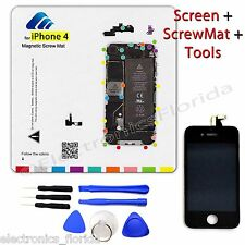 LCD Digitizer Glass Touch Screen + Magnetic ScrewMat + Tools for Iphone 4 CDMA