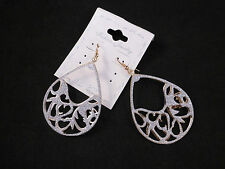 Stunning Gold Toned & Silver Sparkling Frosted Filigree Style  Ladies Earrings
