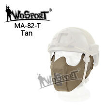 Tactical Military Airsoft CS Paintball Protective Half Face Mesh Mask fit Helmet