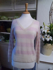 CAPE DAISY JUMPER 100% CASHMERE L  M 14 BABY PINK & IVORY CREAM STRIPES