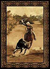 RUGS AREA RUGS SOUTHWEST COUNTRY WESTERN  ROPING COWBOY STYLE DECOR AREA RUG