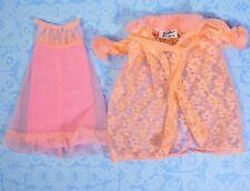 Vintage Barbie 1463 Lovely Sleep Ins Pink Lace Robe Pink Nightgown 1970 VGUC
