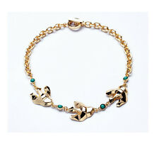 NEW Urban Anthropologie Dover Bird Teal Beaded Gold Chain Necklace