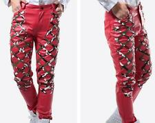 Men Punk Leather Rivets Studded Pants Nightclub Trousers Rock Stage Slim Fit