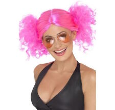 Womens Cute 80's Pink Bunches Wig Britney Disco Fancy Dress Punk Rock 90's Pop