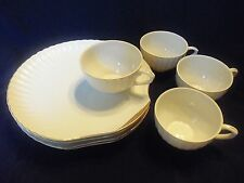 Beautiful SET OF 4 Vintage Fine China Clam Sea Shell LUNCHEON PLATE & CUP SETS