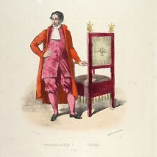 Antique FrenchItalian Lithograph, Vatican Costumes, Rome, Chair-Bearer, 1862
