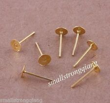 100 pcs Gold Plated Ear Stud Earrings Post Flat Pad Forms Findings 5x12.5mm