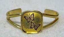 REED & BARTON Fashion Jewelry DAMASCENE CUFF BRACELET butterflies Goldtone