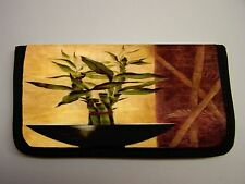 ORIENTAL ASIAN ZEN BAMBOO IN BOWL  # 1 IMAGE NEOPRENE FABRIC  CHECKBOOK COVER