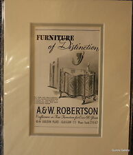 Vintage Advert mounted ready to frame A & W Robertson Glasgow Funiture 1950's