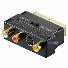 SCART to 3 RCA PHONO AUDIO & COMPOSITE VIDEO & 4 pin S-VIDEO SVHS AV TV ADAPTER