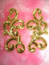 """JB252 Sequin Appliques Gold Beaded Mirror Pair Dance Costume Patch 7"""""""