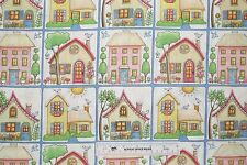 Mary Engelbreit Spring Summer Houses Block Pastels 2014 Cotton Fabric BTY (N8)