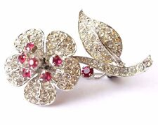 VINTAGE AUSTRIAN FLOWER BROOCH w/ PAVE' SET RHINESTONE AND RUBY ACCENTS