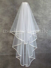 "2Tier Ivory Wedding Bridal Fingertip Veil With Comb 72"" Satin Edge NEW UK"