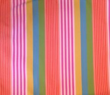 DESIGNERS GUILD Alfarjes Stripe Pink Blue Yellow Cotton Remnant New