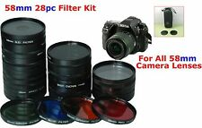 28PC 28 PC 58mm CAMERA LENS FILTER SET KIT FOR CANON EOS REBEL ALL 58mm
