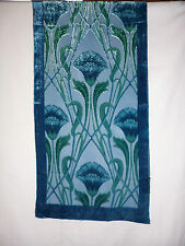 Velvet devore scarf  Blue/green art deco/nouveau floral design  NEW