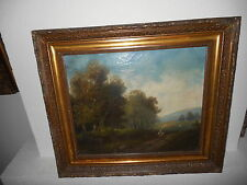 Antique oil painting,{ Landscape with a woman walking, +-1860, nice frame! }