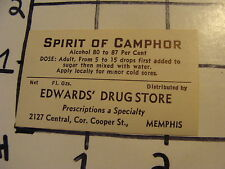 Orig. Vintage Label: Edward's Drug st. MEMPHIS TN---SPIRIT OF CAMPHOR