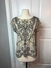 Matty M Anthropologie 100% Silk Blouse Small Taupe / Black Deco Print Open Back