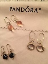 AUTHENTIC PANDORA EARRING Dangles And Posts 3 Pairs! Interchangeable