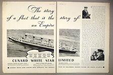 Cunard White Star Steam Ship Line 2-Page PRINT AD - 1934 ~steamship, ocean liner