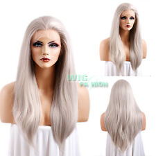 """24"""" Heat Resistant Long Straight Mixed Grey Lace Front Wig"""