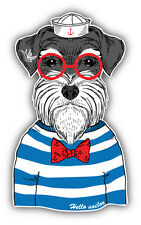 Dog Sailor Car Bumper Sticker Decal 3'' x 5''
