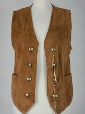 Womens Brown Soft Leather Suede Western Waistcoat Gilet Size Medium Leathercity