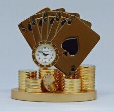 Miniaturuhr Tischuhr Kamin Schreibtischuhr Poker Kartenspiel Quarzwerk