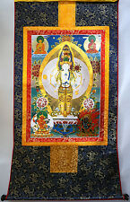 """48"""" BIG BLESSED TIBET WOOD SCROLL THANGKA: KUANYIN, Thousand Arms Avalokitesvara"""