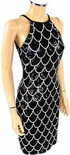 CACHE Sequined Cocktail Dress SIZE 4 Black White Pageant Bodycon Sleeveless