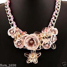 SUBLIME Collier métal doré, cristal, fleurs roses, transparent, bijoux fantaisie