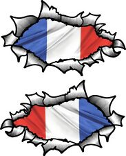 Small Pair Oval Ripped Torn Metal & France French Country Flag car sticker Decal