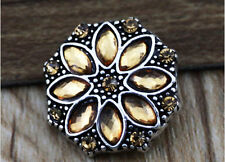 DIY 3D Rhinestone Drill Snaps Chunk Charm Button Fit For  Leather Bracelets 2/