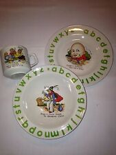 WOOD & SON CHILD'S THREE PIECE CHINA DINNER SET....GREEN LETTERS