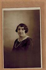 Carte Photo vintage card RPPC portrait femme collier mode fashion pz065