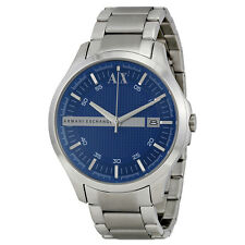 Armani Exchange Blue Textured Dial Stainless Steel Mens Watch AX2132