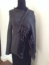 ROZAE NICHOLS Mohair Cardigan with Sequenced Panels Gray Black S P NWT $489