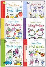 Usborne Wipe Clean Learn To Write 6 Books Collection Set With Marker Pen Letters